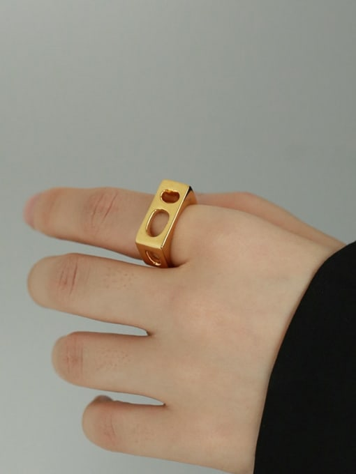 TINGS Brass Hollow Geometric Vintage Band Ring 1