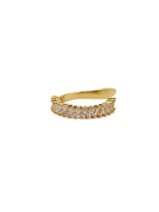 Rectangular zircon Brass Cubic Zirconia Geometric Vintage Clip Earring