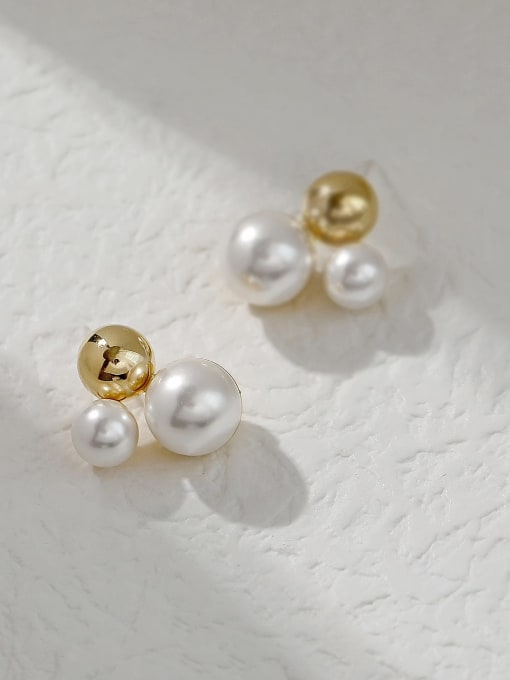 HYACINTH Brass Imitation Pearl Irregular Vintage Stud Trend Korean Fashion Earring 2