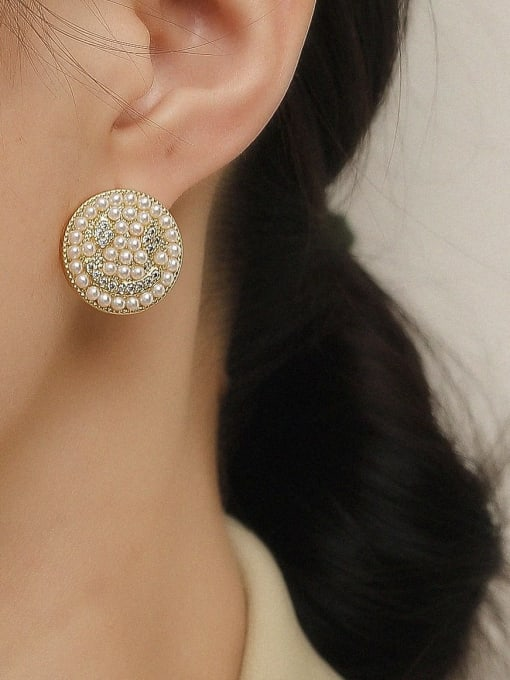 HYACINTH Brass Imitation Pearl Smiley Vintage Stud Trend Korean Fashion Earring 1