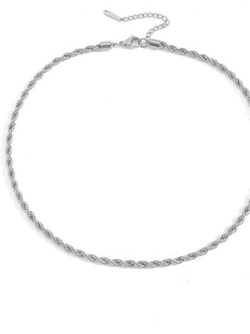 Steel color 4mm * 42 +5cm Stainless steel Irregular Hip Hop Necklace