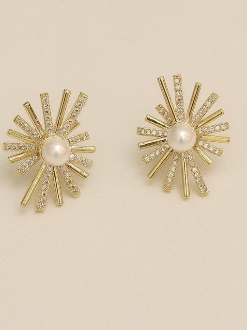 14K gold Copper Cubic Zirconia Flower Vintage Stud Earring