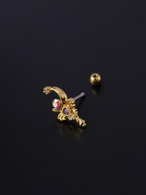 HISON Brass Cubic Zirconia Geometric Hip Hop Chandelier Earring 3