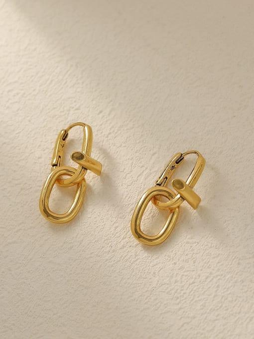 HYACINTH Brass Hollow Geometric Vintage Drop Trend Korean Fashion Earring 2