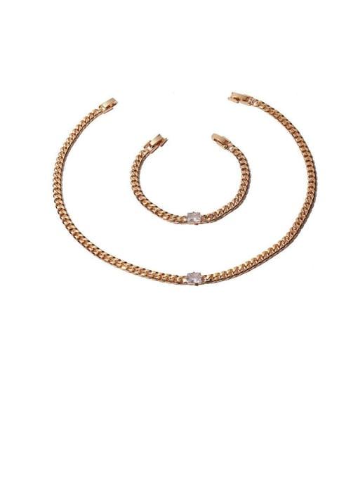 ACCA Brass Cubic Zirconia Geometric Hip Hop Necklace 0