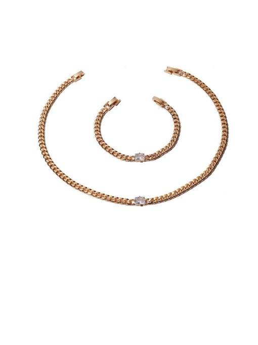 ACCA Brass Cubic Zirconia Geometric Hip Hop Necklace