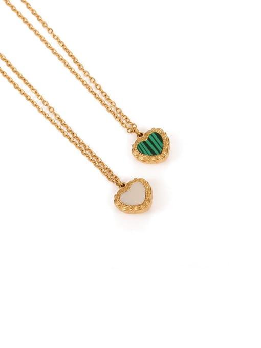 Malachite Brass Shell Heart Minimalist Necklace