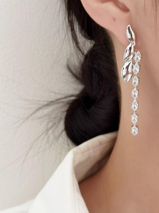 HYACINTH Brass Cubic Zirconia Tassel Vintage Drop Earring 1