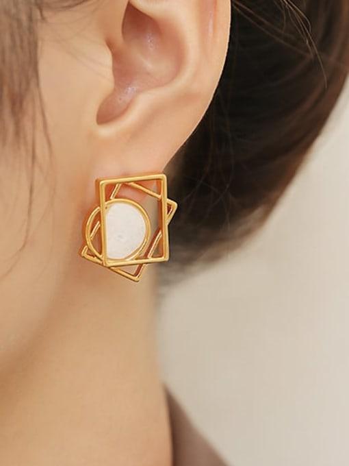 ACCA Brass Hollow Geometric Minimalist Stud Earring 1