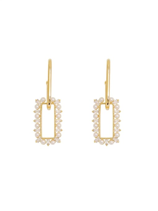 HYACINTH Brass Imitation Pearl Geometric Dainty Drop Earring