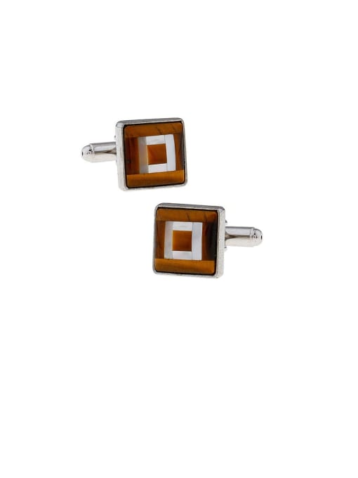 White steel Brass Shell Square Vintage Cuff Link
