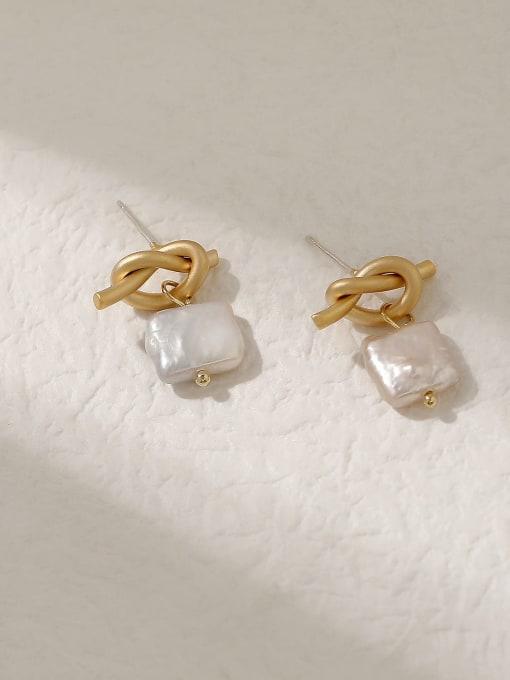 HYACINTH Brass Freshwater Pearl Geometric Vintage Drop Trend Korean Fashion Earring