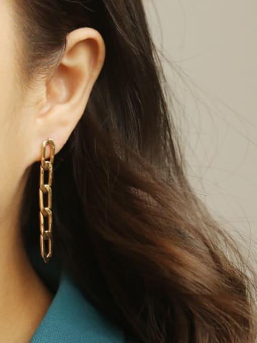ACCA Brass Asymmetry Hollow Geometric Hollow Vintage Drop Earring 2