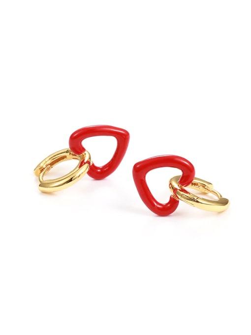 red Brass Enamel Heart Minimalist Drop Earring