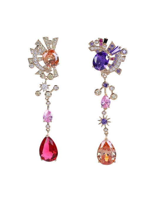 OUOU Brass Cubic Zirconia Star Luxury Drop Earring 3