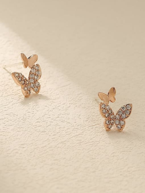 rose gold Brass Cubic Zirconia Butterfly Cute Stud Trend Korean Fashion Earring