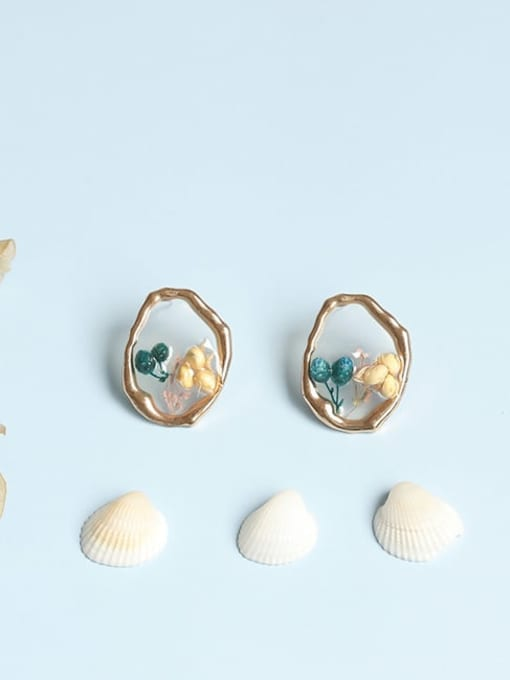 Five Color Alloy Enamel Flower Vintage Stud Earring