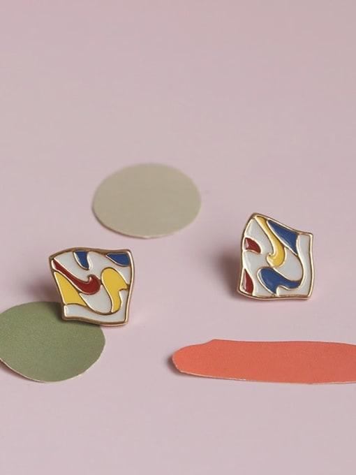 Five Color Alloy Enamel Geometric Cute Stud Earring 0
