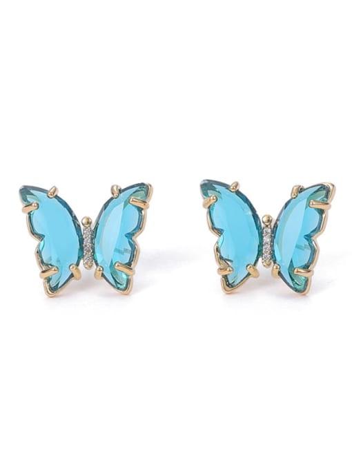 ACCA Brass Cubic Zirconia Butterfly Minimalist Stud Earring 3