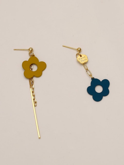 HYACINTH Brass Enamel Asymmetry Flower Ethnic Drop Earring 4