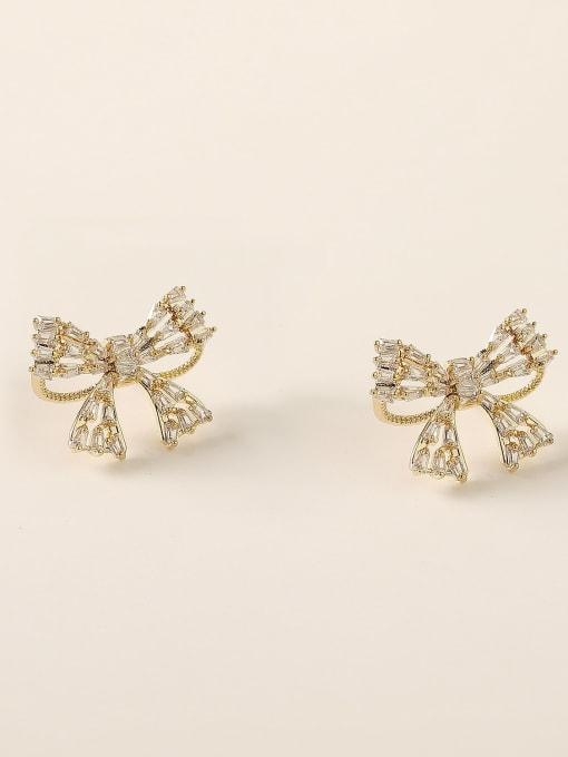 HYACINTH Brass Cubic Zirconia Bowknot Vintage Stud Earring