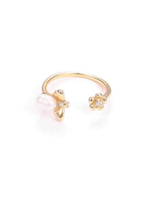 Five Color Brass Imitation Pearl Flower Hip Hop Band Ring 3