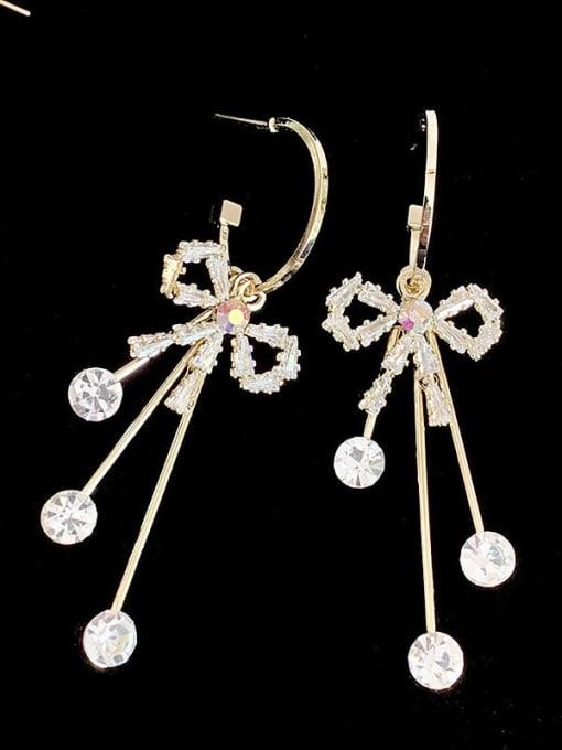 SUUTO Brass Cubic Zirconia Tassel Ethnic Drop Earring