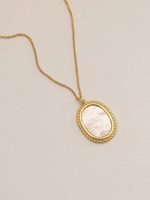 HYACINTH Brass Shell Geometric Minimalist Pendant Necklace 3