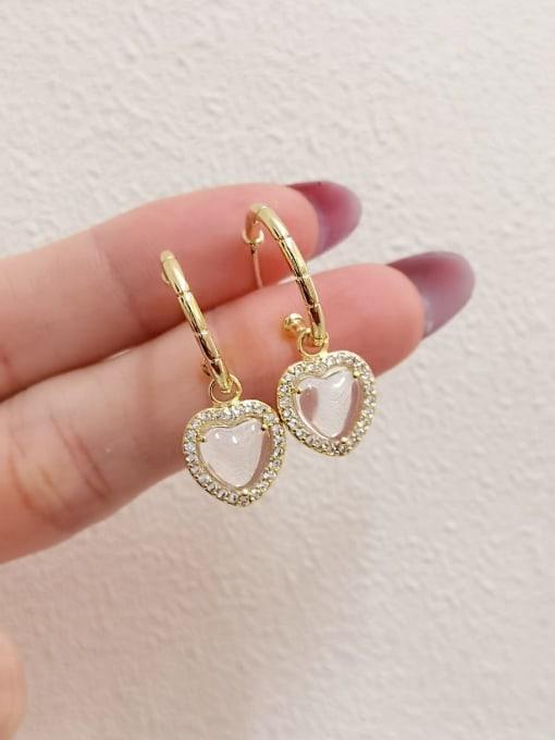 HYACINTH Brass Glass Stone Heart Minimalist Huggie Earring 2