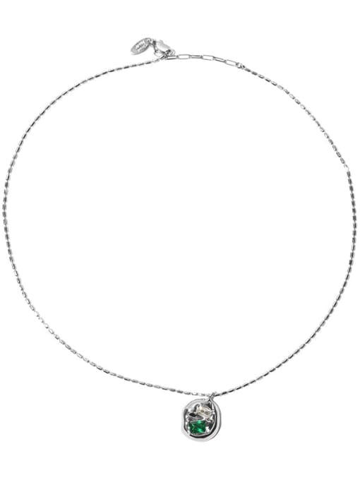 TINGS Brass Cubic Zirconia Geometric Vintage Necklace 2