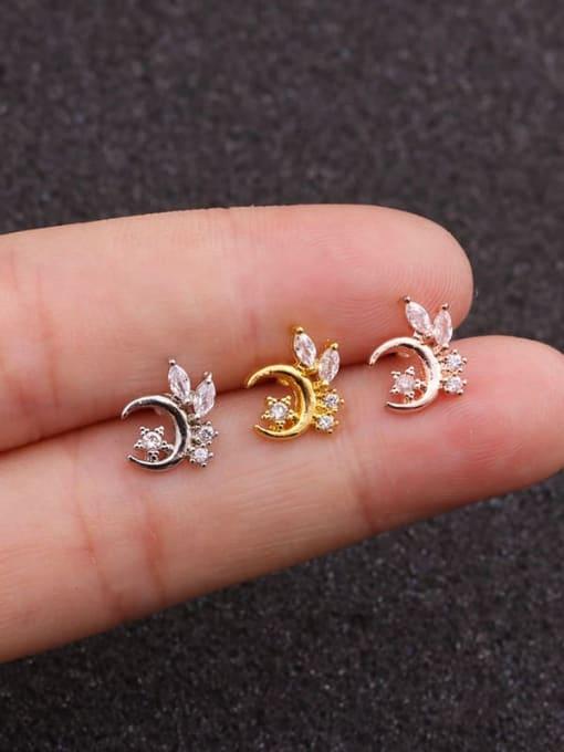 HISON Brass Cubic Zirconia Star Cute Stud Earring