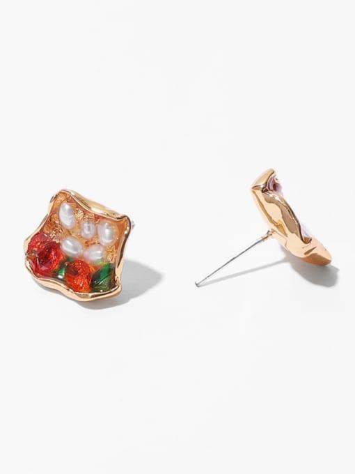 Geometric Earrings Brass Imitation Pearl Geometric Hip Hop Stud Earring