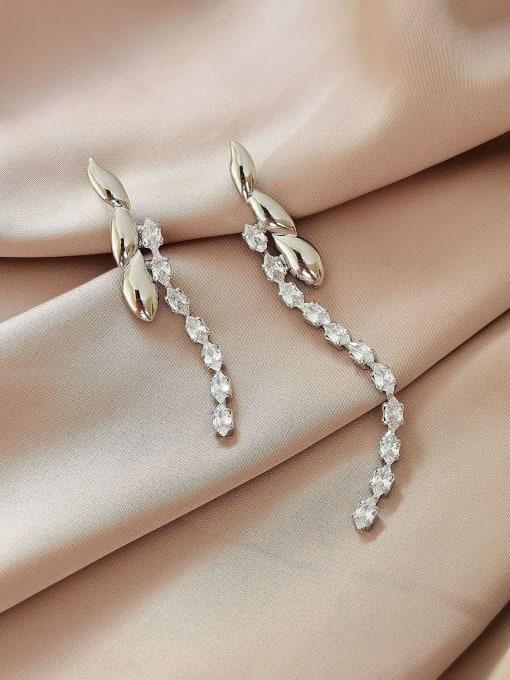 White K Brass Cubic Zirconia Tassel Vintage Drop Earring