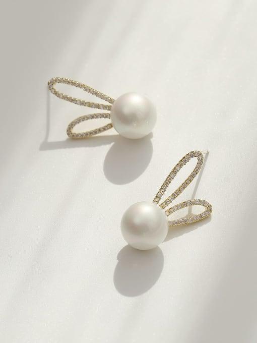 HYACINTH Brass Imitation Pearl Irregular Bohemia Rabbit ears  Stud Earring 2
