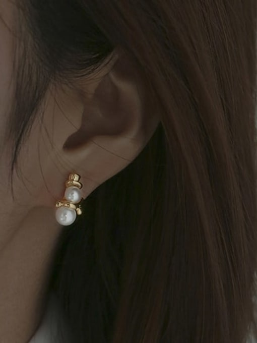 ACCA Brass Imitation Pearl Geometric Vintage Drop Earring 0