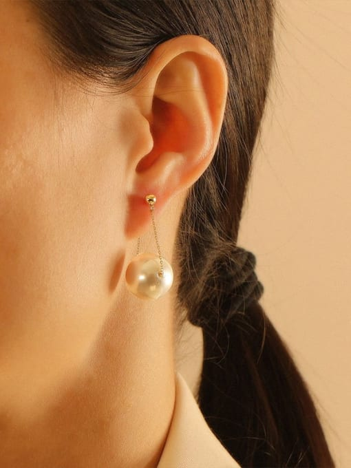 HYACINTH Brass Imitation Pearl Geometric Minimalist Threader Earring 3