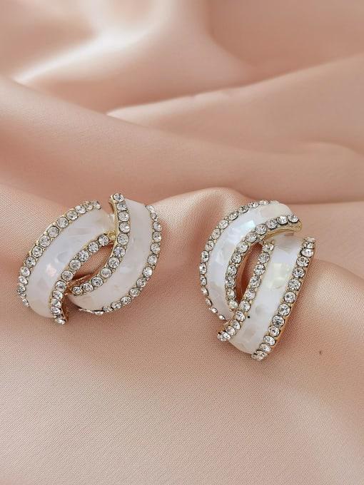 HYACINTH Brass Rhinestone Enamel Geometric Minimalist Stud Earring