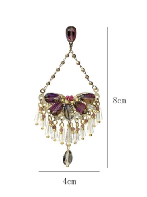 SUUTO Brass Crystal Geometric  Imitate Statement Drop Earring 2