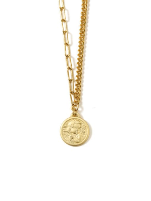 TINGS Brass Coin Artisan round pendant Necklace 4