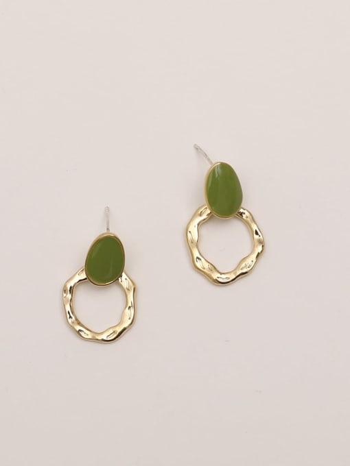 14K true gold butter green Brass Enamel Geometric Vintage Stud Earring