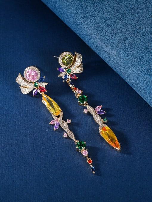OUOU Brass Cubic Zirconia Tassel Luxury Drop Earring 3