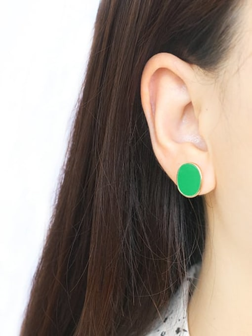 Five Color Alloy Enamel Geometric Ethnic Stud Earring 2