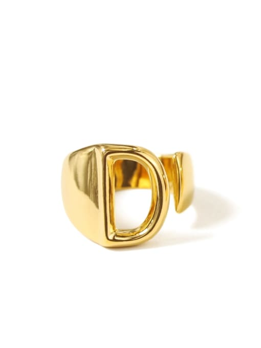 D Brass  26 Letter Vintage Band Ring