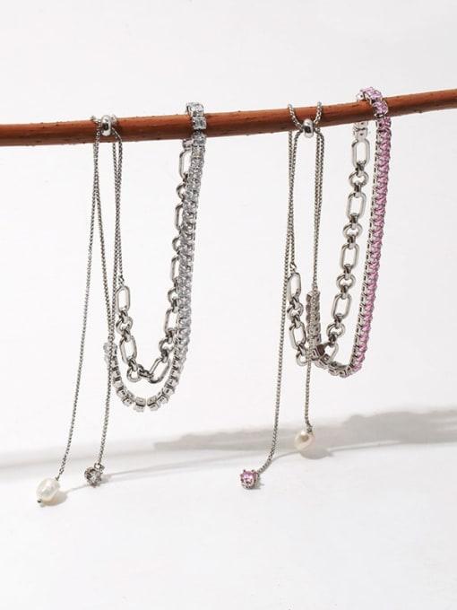 TINGS Brass Cubic Zirconia Geometric Vintage Lariat Necklace