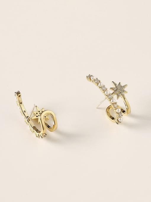 HYACINTH Brass Imitation Pearl Geometric Trend Stud Earring 2