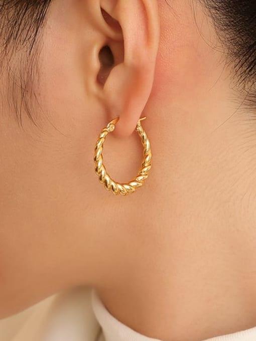 Five Color Brass Geometric Vintage Hoop Earring 1