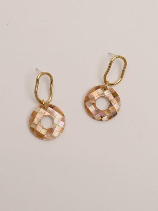 HYACINTH Brass Acrylic Round Vintage Stud Earring 2