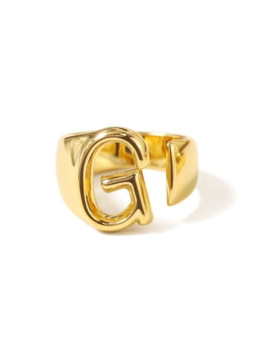 G Brass  26 Letter Vintage Band Ring