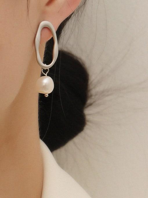 HYACINTH Brass Imitation Pearl Geometric Minimalist Drop Trend Korean Fashion Earring 1