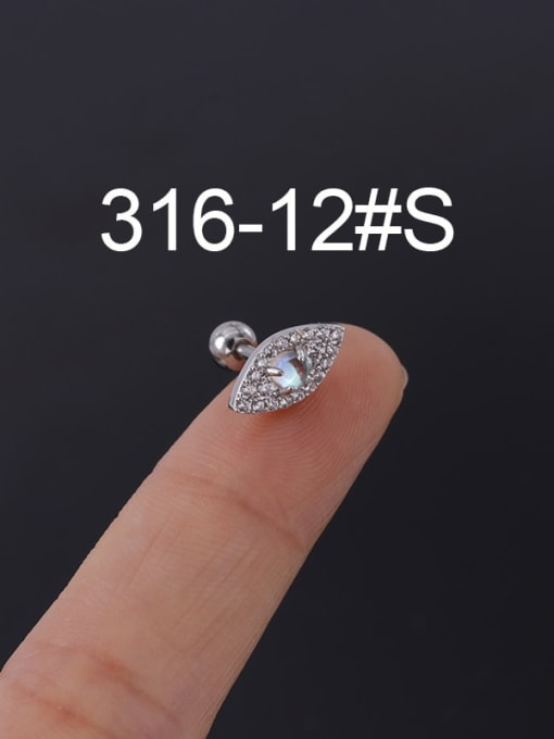 12S Stainless steel with Cubic Zirconia Ear Bone Nail/Puncture Earring